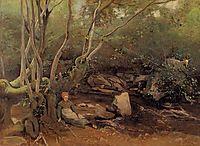 Lormes Shepherdess Sitting under Trees beside a Stream, 1842, corot