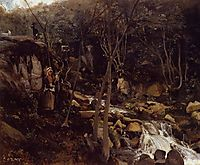 Lormes, A Waterfall with a Standing Peasant, Spinning Wool, 1842, corot