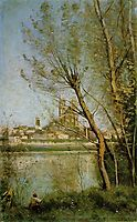 Mantes, View of the Cathedral and Town through the Trees, 1869, corot