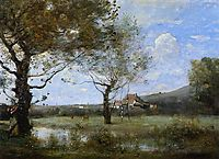 Meadow with Two Large Trees, 1870, corot