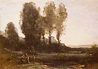 The Monastery Behind the Trees, corot