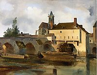Moret sur Loing, the Bridge and the Church, 1822, corot