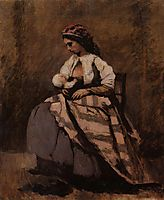Mother Breast Feeding Her Child, c.1870, corot