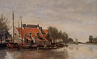 Near Rotterdam, Small Houses on the Banks of a Canal, 1854, corot