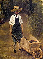 Octave Chamouillet Pushing a Wheelbarrow in a Garden, c.1845, corot