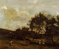 Peasants near a Village, corot