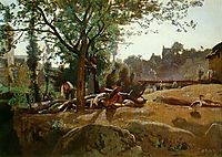 Peasants Under the Trees at Dawn, Morvan, c.1845, corot