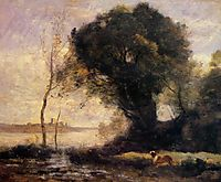 Pond with Dog, c.1860, corot