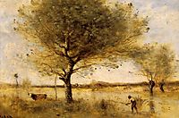 Pond with a Large Tree, c.1865, corot