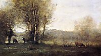Pond with Three Cows (Souvenir of Ville d-Avray), c.1860, corot