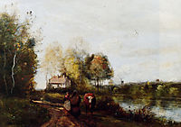 The Road at the River Bank, corot