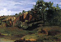 Rocks at Civita Castellana, c.1826, corot