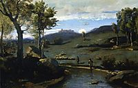 Roman Countryside Rocky Valley with a Herd of Pigs, 1828, corot