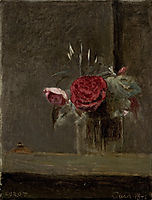 Roses in a Glass, 1874, corot