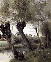 Saint Nicholas les Arras, Willows on the Banks of the Scarpe, 1872, corot