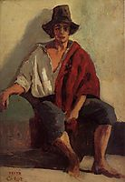 A Seated Italian from Paeigno Facing Front, c.1828, corot