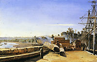 Shipyard in Honfleur, c.1823, corot
