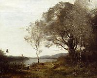 Strolling along the Banks of a Pond, c.1865, corot