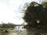 The Swamp near the Big Tree and a Shepherdess, corot