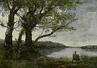 Three Trees with a View of the Lake, corot