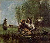 Two Cowherds in a Meadow by the Water, c.1855, corot