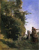 Two Women Talking by a Gate, c.1865, corot