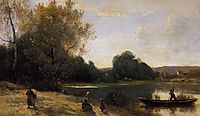 Ville d-Avray The Boat Leaving the Shore, c.1870, corot