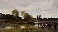 Ville d-Avray, Horses Watering, c.1865, corot