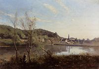 Ville d-Avray, the Large Pond and Villas, c.1855, corot