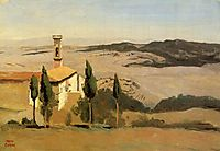 Volterra, Church and Bell Tower, 1834, corot
