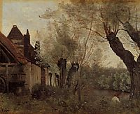 Willows and Farmhouses at Saint Catherine les Arras, 1871, corot