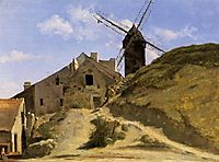 A Windmill at Montmartre, c.1845, corot