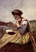Woman Reading in a Landscape, c.1869, corot