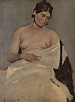 Woman sitting with nude breasts, c.1835, corot