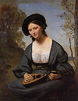 Woman in a Toque with a Mandolin, c.1855, corot