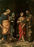 Four Saints (from left St. Peter, St. Martha, St. Mary Magdalene, St. Leonard), 1517, correggio