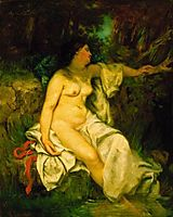 Bather Sleeping by a Brook, courbet