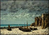 Boats on a Beach, Etretat, c.1869, courbet
