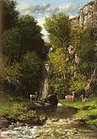 Family of Deer in a Landscape with a Waterfall, 18, courbet