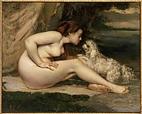 Female Nude with a Dog (Portrait of Leotine Renaude) , courbet