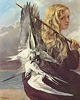 Girl with Seagulls,Trouville, 1865, courbet