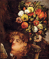 Head of a Woman with Flowers, 1871, courbet