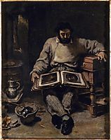 Marc Trapadoux is Examining the Book of Prints, 1848, courbet