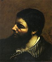 Self-Portrait with Striped Collar , 1854, courbet