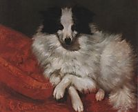 Sitting on Cushions Dog , 1855, courbet
