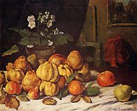 Still Life Apples, Pears and Flowers on a Table, Saint Pelagie, 1871, courbet