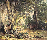 A Thicket of Deer at the Stream of Plaisir-fontaine, 18, courbet