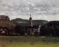 View of Ornans and Its Church Steeple, c.1858, courbet