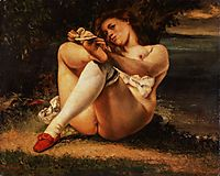 Woman with white stockings, 1861, courbet