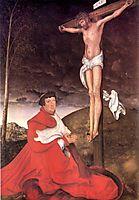 Albert, Cardinal Elector of Mainz at the foot of the Cross, 1520, cranach